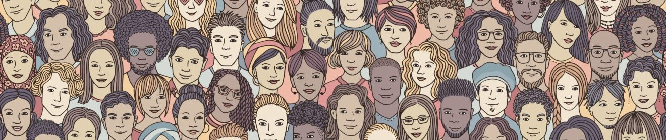 Diverse crowd of people - seamless banner of 100 different hand drawn faces of various ethnicities